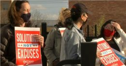 Parents Protest Outside Chicago Teachers Union Headquarters After Members Refuse To Return To Classrooms