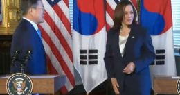 So Awkward! Kamala Wipes Her Hand After Shaking Hands With President Moon [VIDEO]