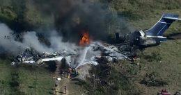 Plane carrying 21 people crashes near Houston, one injured